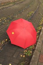 Umbrella On Tram Rails.