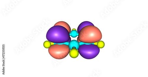 Photo Molecular orbital of benzene isolated on white