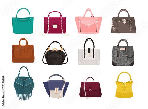 Photo Set of stylish women s handbags - tote, shopper, hobo, bucket, satchel and pouch bags