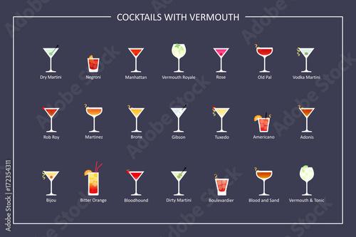Fototapeta Cocktails with vermouth guide, flat icons on dark background. Horizontal orientation. Vector obraz na płótnie