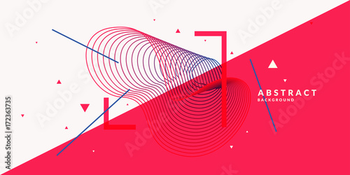 Tuinposter Abstract wave Abstract background with dynamic linear waves. Vector illustration in flat style