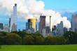 Pollution problems in urban area – New York City landscape with emissions in background