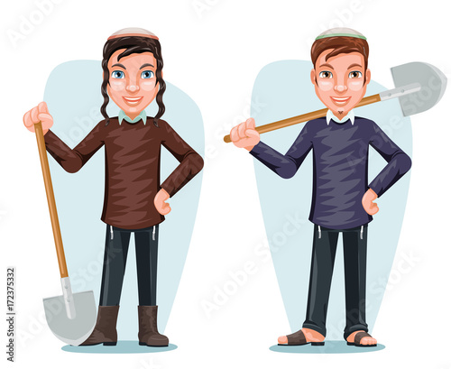 Fotomural Settler Israel Jew Free Zionist Farmer Male Cartoon Character Design Vector Illu