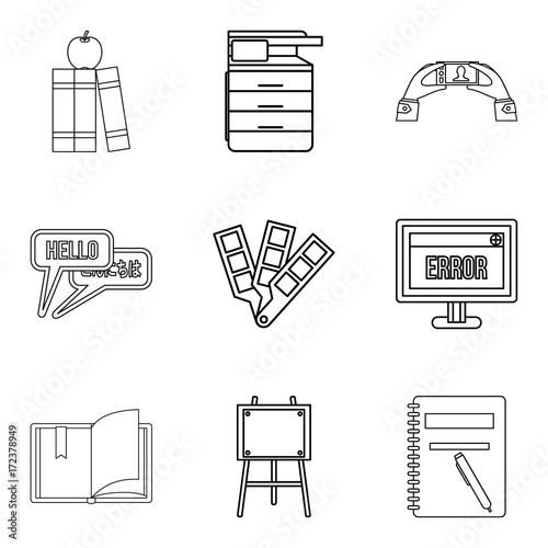 Photographie  Journal icons set, outline style