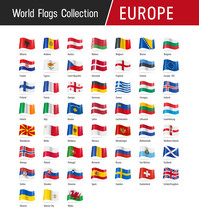 Flags Of Europe, Waving In The...
