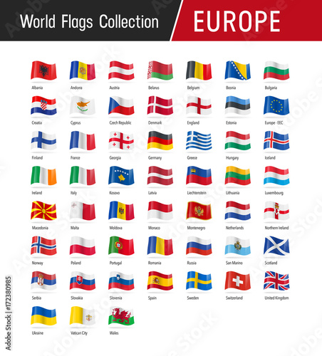 Obraz Flags of Europe, waving in the wind - World flags collection - fototapety do salonu