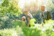 Leinwandbild Motiv Family on a rambling day in countryside