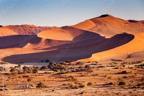 Foto op Canvas Oranje eclat Desert sand dunes and landscape, Namib, Namibia, Africa