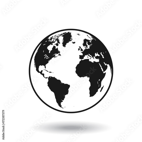 Fotobehang Wereldkaart Vector Black Globe world map