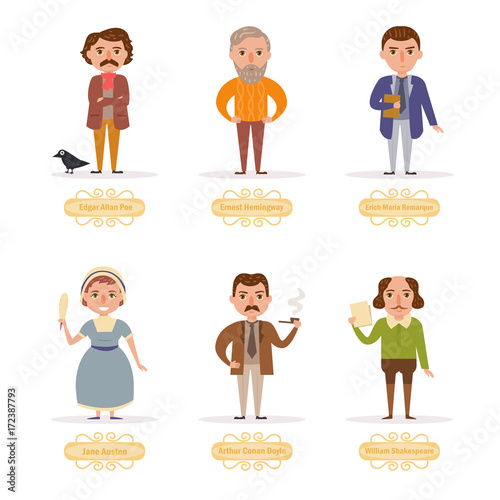Famous writers. Vector. Cartoon. Wallpaper Mural