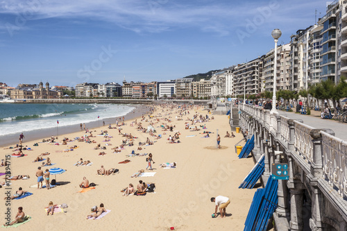 Tablou Canvas Beach in San Sebastian, Spain
