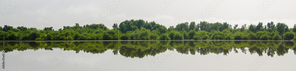 Fototapety, obrazy: Panorama of perfect reflection of trees in lake, central wetlands of the Gambia, West Africa