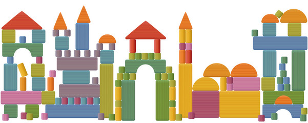 Toy blocks city skyline - fabulous buildings, towers, castles, churches and a...