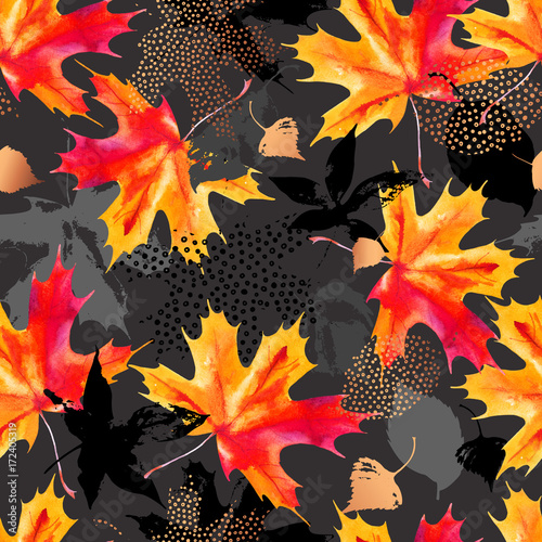 Recess Fitting Watercolor Nature Autumn leaves watercolor seamless pattern.