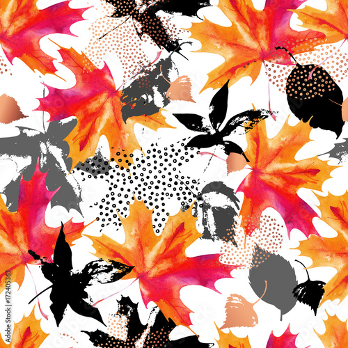 Printed kitchen splashbacks Watercolor Nature Autumn leaves watercolor seamless pattern.
