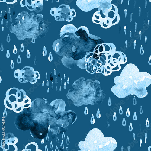 Printed kitchen splashbacks Watercolor Nature Watercolor fall shower seamless pattern.