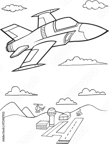 Foto auf AluDibond Cartoon draw Cute Military Jet Aircraft Vector Illustration Art