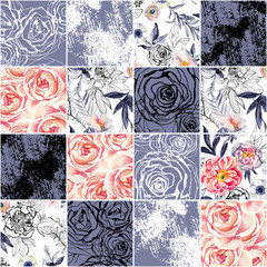 Fototapeta Mozaika Abstract squares seamless pattern: watercolor, ink doodle flowers, leaves, weeds.