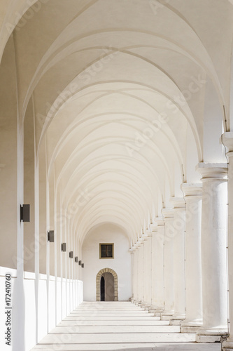 White columns passage Canvas Print