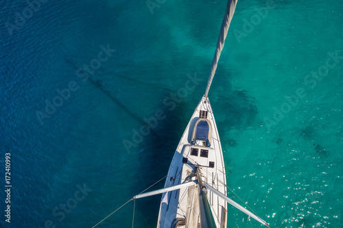 Fototapeta  View from high angle of sailing boat