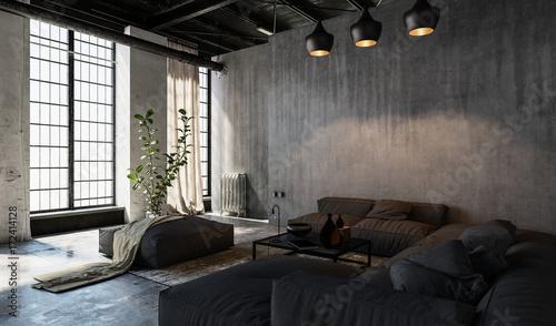 Fototapeta Przestronny salon w stylu loftu