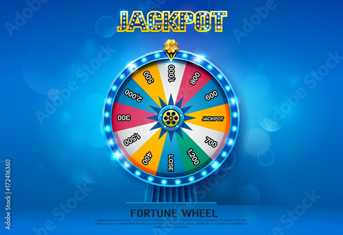 fortune wheel spinning  on bokeh background Poster Mural XXL
