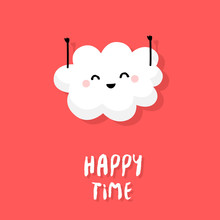 Cute Cloud Raises Hands Up And Smiles On Red Background. Happy Time. Vector Cartoon Card.