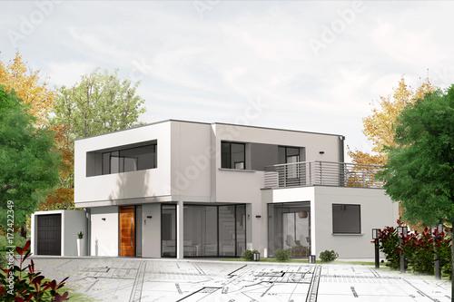 Fotografia, Obraz  Projet de construction de maison d'architecte