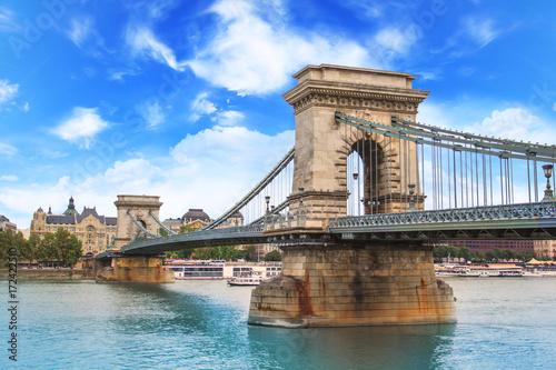 Aluminium Prints Budapest Beautiful view of the Chain Bridge over the Danube in Budapest, Hungary