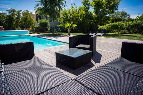 piscine terrasse et salon de jardin - Buy this stock photo and ...