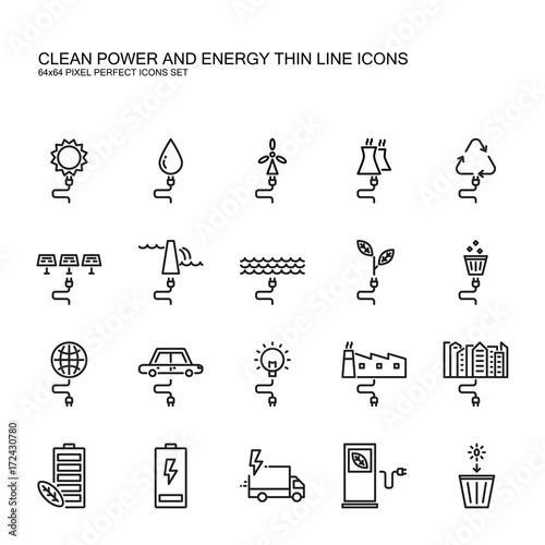 Clean power and Green energy thin line icons set  Clean electrical
