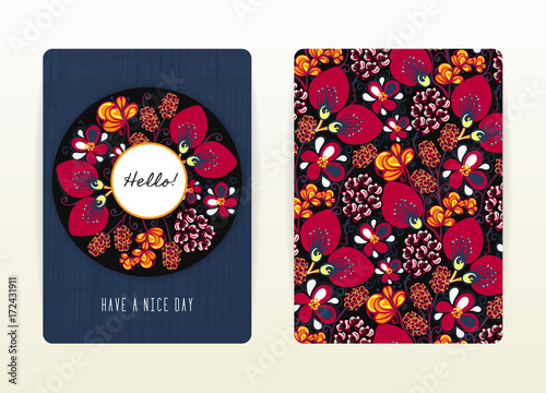 Cover Design With Floral Pattern Hand Drawn Creative