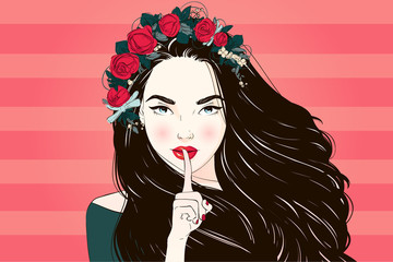 Portrait of young beautiful woman with flowers in long hair. Vector hand drawn illustration.