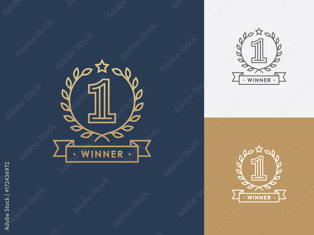 Fototapeta Linear winner emblem with number 1, wreath and ribbon.