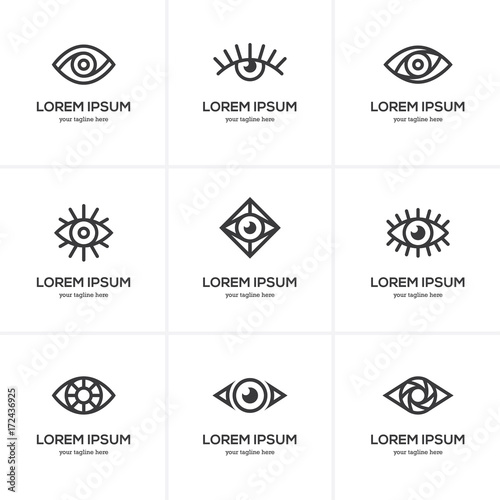Set of black linear eye icons.
