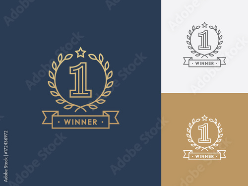Linear winner emblem with number 1, wreath and ribbon. Fototapet