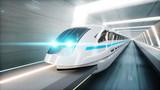 Fototapeta Do przedpokoju - futuristic modern train, monorail fast driving in sci fi tunnel, coridor. Concept of future. 3d rendering.