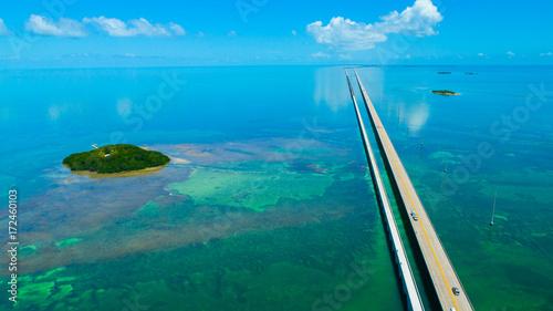 7 mile bridge. Aerial view. Florida Keys, Marathon, USA. Canvas-taulu
