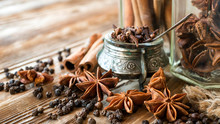 Aromatic Spices On A Rustic Ba...