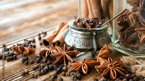 Aromatic spices on a rustic background Canvas Print