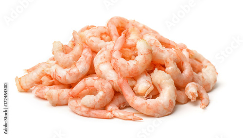 Pile of boiled peeled shrimps