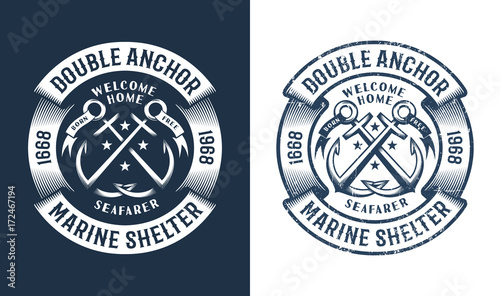 Round nautical logo, tattoo with crossed anchors in vintage style. Worn texture on a separate layer and can be easily disabled.