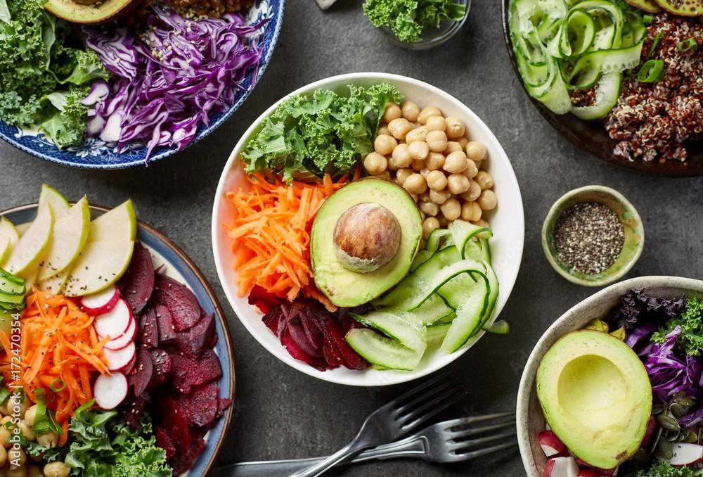 Fototapety, obrazy: Breakfast vegan bowls
