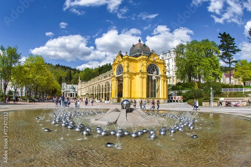 Photo  Main colonnade and Singing fountain in Marianske Lazne (Marienbad) - great famou
