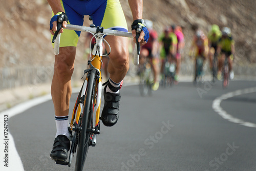 Spoed Foto op Canvas Fietsen Cycling competition,cyclist athletes riding a race at high speed