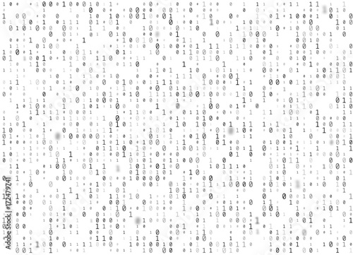 Fotografía  Vector binary code white seamless background
