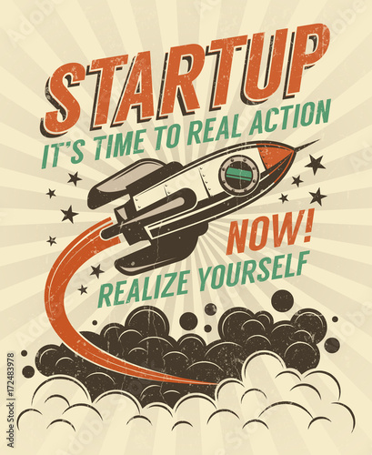 Startup take-off rocket retro poster with vintage colors and grunge effect. Worn texture on separate layer and can be easily disabled.