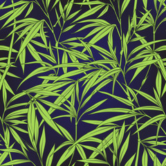 FototapetaSeamless pattern with bamboo leaves and branches in Japanese sty