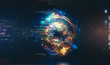 canvas print picture - Abstract background. 3d atom model. Elegant glowing circle. Light ring. Sparking particle. Space tunnel. Colorful ellipse. Glint sphere. Magic portal. Energy ball.