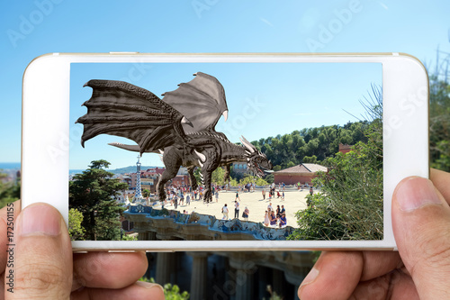 Photo Augmented reality marketing technology concept